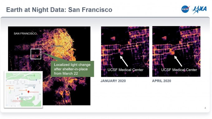 미국 샌프란시스코의 야간 위성사진이다. 1월에 비해 4월 샌프란시스코 캘리포니아대 병원이 밝게 빛나는 모습을 볼 수 있다. 미국항공우주국(NASA) 제공