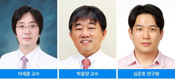 연구에 참여한 이세훈(왼쪽부터) 삼성서울병원 혈액종양내과 교수, 박웅양 유전체연구소장, 심준호 연구원. 삼성서울병원 제공