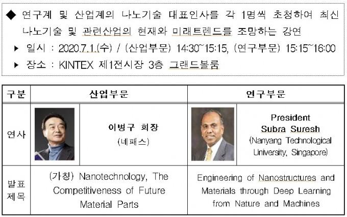 나노코리아 2020의 첫 날 기조강연자와 주제다. 과학기술정보통신부 제공