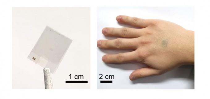 (좌)투명한 스마트 온열 패치, (우)패치를 손등에 부착한 모습. IBS 제공