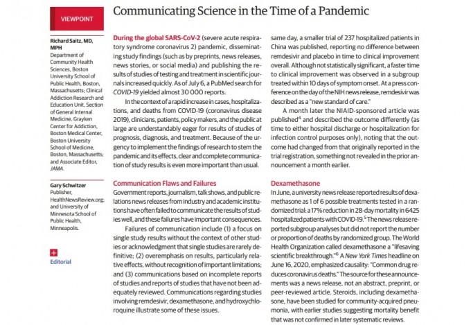미국의사협회지(JAMA)는 13일(현지시간) 코로나19 관련 과학소통의 문제점을 지적하고 개선점을 제시하는 기고를 게재했다. 성급한 결과 보도를 지양하고 한계와 맥락을 함께 언급하는 신중한 보도를 당부했다. JAMA 논문 캡쳐