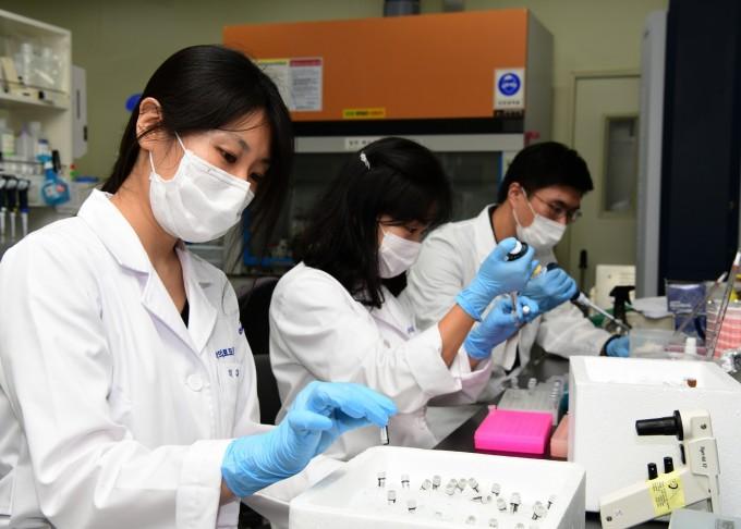 한국표준과학연구원에서 연구팀이 코로나19 바이러스의 유전자 표준물질을 개발하고 있다. 왼쪽부터 이다혜 선임연구원, 배영경 책임연구원, 유희민 선임연구원이다. 한국표준과학연구원 제공