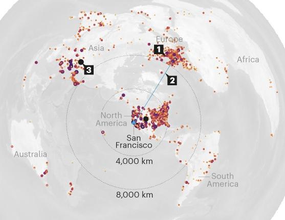 기고문 저자들이 분석한 미국 지구물리학연합 콘퍼런스 참석자들 분포와 이동, 탄소배출량. 네이처 제공.