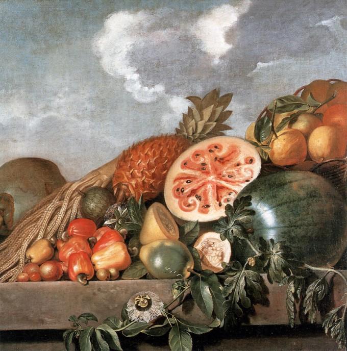 약 400년 전에도 수박의 속살은 지금만큼 선명한 붉은색은 아니었던 것으로 보인다. 17세기 작품 '수박과 파인애플이 있는 정물'. 위키피디아 제공