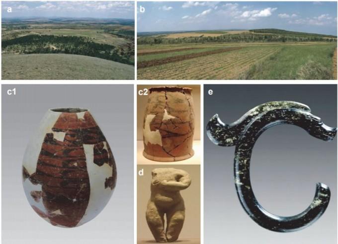 랴오허 문명을 대표하는 훙산 문화 중기의 유적과 이곳에서 발굴한 유물들. 네이처 커뮤니케이션즈 제공