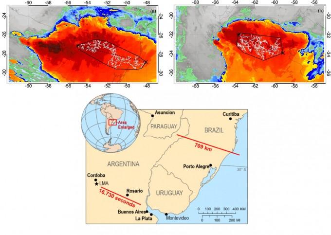WMO가 새 번개 기록으로 인정한 가장 긴 번개(왼쪽 위)와 가장 오래 친 번개(오른쪽 위)의 위성 관측영상이다. 아래 지도에 두 번개가 내리친 위치를 표시했다. WMO 제공