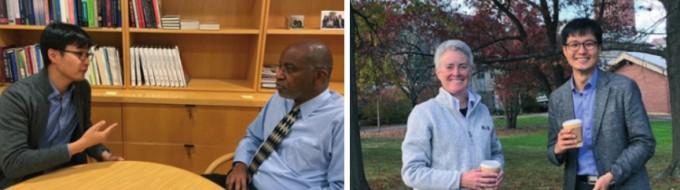 지난해 가을, 김승섭 교수는 미국 하버드대학교 사회학과 데이비드 윌리엄스 교수(왼쪽)와 매사추세츠 주립대학교 경제학자 리 배지트 교수(오른쪽)와 만나 사회적 약자의 차별에 대한 이야기를 나누었다
