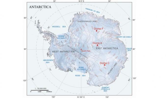 남극의 최고점인 돔A를 지도에 표시했다. 네이처 제공