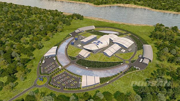 미국 원전개발기업 뉴스케일파워의 소형모듈원전(SMR) 발전소 가상 조감도다. 뉴스케일파워의 SMR은 이번이 미국 원자력규제위원회(NRC) 설계 심사를 통과했다. 뉴스케일파워 제공