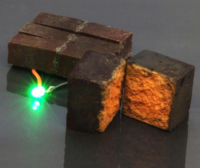 줄리오 다르시 미국 워싱턴대 화학과 교수 연구팀이 개발한 벽돌 전지다. 벽돌 하나를 LED 전구에 연결하면 10분간 빛을 낸다. 워싱턴대 제공