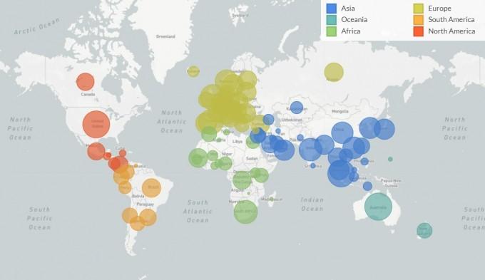 전세계 코로나19 바이러스(사스코로나바이러스-2)의 게놈 해독 결과를 바탕으로 코로나19 유행 상황을 대륙별로 색을 달리 해 표현했다. 국제과학프로제긑 넥스트스트레인은 국제인플루엔자데이터공유이니셔티브(GISAID)에 공유된 게놈 데이터 8만 여 개 가운데 4300개를 분석해 대륙별 바이러스 유입 및 전파 특성을 분석해 보고서의 형태로 15일 공개했다. 넥스트스트레인 화면 캡쳐