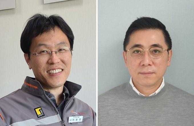 전용성 한화토탈 수석연구원(왼쪽)과 정민석 한국화장품제조 본부장이 이달의 대한민국 엔지니어상 수상자로 선정됐다.