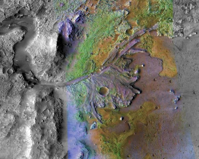퍼시비어런스가 착률할 화성의 예제로 크레이터 (Jezero Crater). NASA 제공