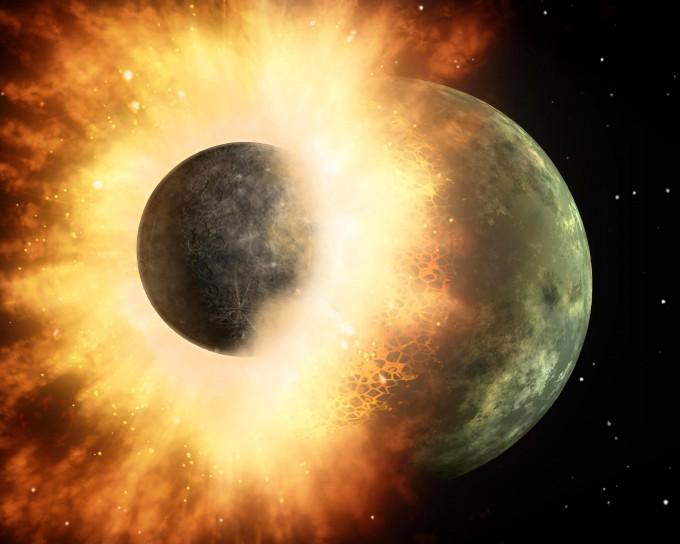 원시 지구에 화성 크기의 천체가 충돌하면서 달이 형성됐을 것이라는 ′거대충돌설′의 상상도. NASA 제공