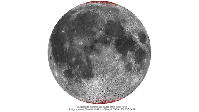달에서 철이 녹슬어 만들어진 적철광이 분포된 곳을 지도로 나타냈다. 달에서 물이 존재하는 것으로 알려진 극지방에 주로 분포하는 것을 볼 수 있다. 하와이대 제공