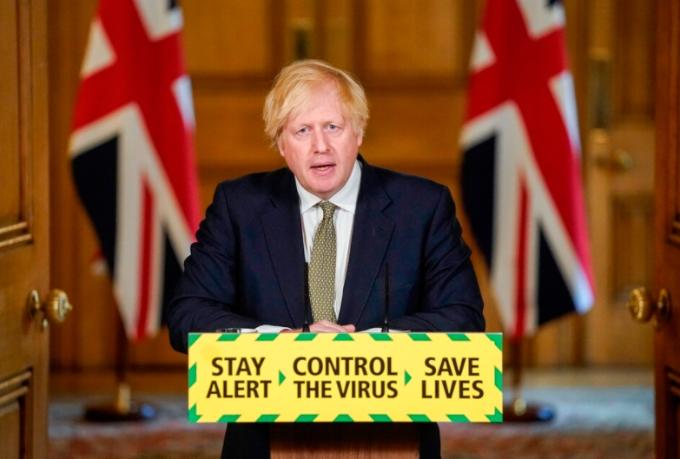 보리스 존슨 영국 총리가 원격 기자회견을 통해 신종 코로나바이러스 감염증(코로나19) 대책을 설명하고 있는 모습이다. 연합뉴스 제공