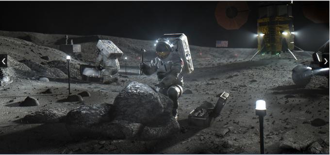 인류의 달 탐사 상상도. NASA 제공