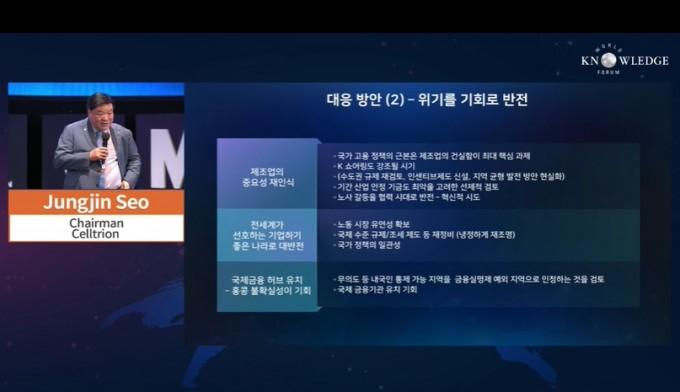 서정진 셀트리온 그룹 회장이 매경 세계지식포럼에서 강연하고 있다. 동영상 캡처.