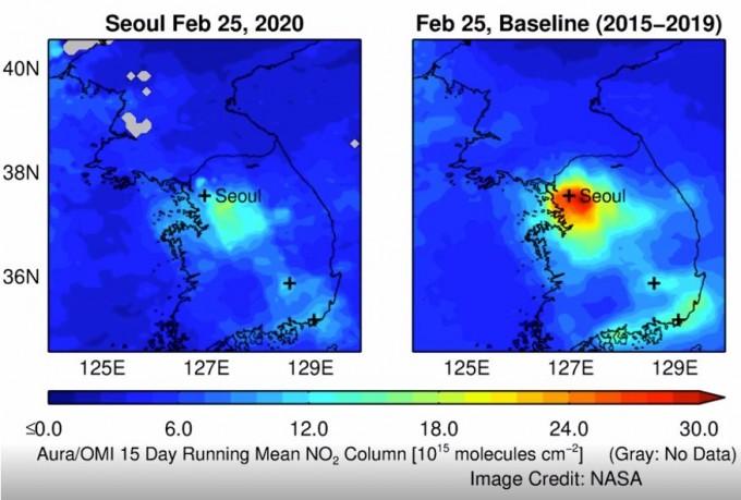 서울 지역의 이산화질소 농도다. NASA 제공