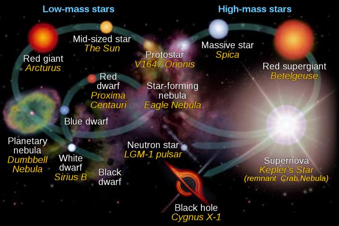 별은 초기 질량에 따라 삶의 궤적(진화)이 결정된다. 질량이 큰 별(오른쪽)은 핵융합 반응이 격렬하게 일어나기 때문에 수명이 짧고 적색초거성을 거쳐 초신성폭발을 일으킨 뒤 블랙홀이나 중성자별을 남긴다. 질량이 작은 별(왼쪽)은 핵융합 반응이 천천히 일어나기 때문에 수명이 길다. 이 가운데 태양 질량 별은 적색거성을 거쳐 외피층은 행성상 성운으로 흩어지고 중심핵은 백색왜성이 된다. 이보다 가볍고 수명이 아주 긴 별인 적색왜성은 수소를 다 태운 뒤 청색왜성을 거쳐 백색왜성이 될 것으로 추측된다. NASA 제공