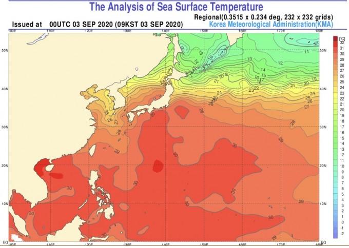 9월 3일 기준 한반도 주변 해수 온도 분포도. 기상청 제공.
