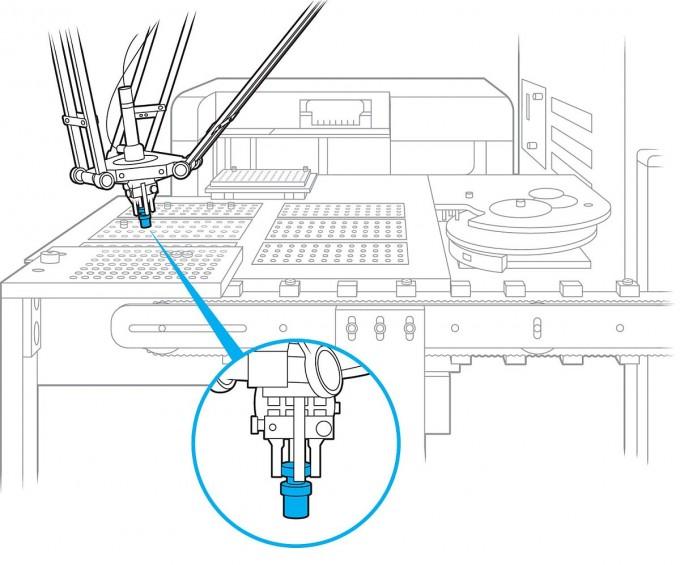   SRI의 로봇은 잉크젯 프린터 기술로 항바이러스 분자를 극소량 시험 합성해 설계대로 치료제가 만들어지는지 확인한다. IEEE 스펙트럼 제공
