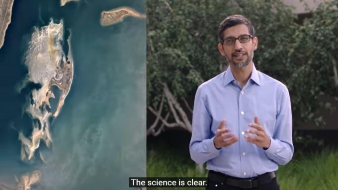 순다 피차이 알파벳 최고경영자(CEO)가 구글이 공개한 영상에서 2030년까지 전체 시설을 온실기체를 발생시키지 않는 방법으로 생산한 에너지로 운영할 계획을 밝히고 있다. 구글 홈페이지 영상 캡쳐