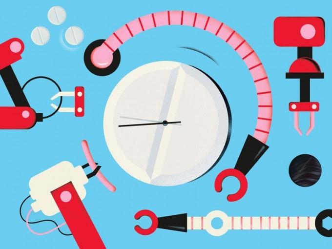 알약과 시계, 로봇 일러스트. 인공지능과 로봇 기술이 코로나 신약 개발 시간을 단축하고 있음을 상징한다. IEEE 스펙트럼 제공