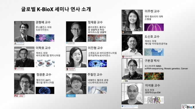 K-바이오X는 이달 15일 성균관대를 시작으로 10차례에 걸쳐 세계 각지 한국인 연구자들이 연구 성과를 공유하는 온라인 세미나를 연다. K-바이오X 제공