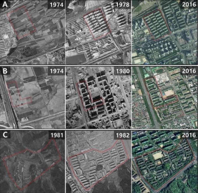 연구팀이 시료를 채취한 세 지역의 1970~1980년대부터 현재까지의 항공사진이다. 불과 50년이 안 되는 시간 사이에 논에서 도시로 큰 변화를 겪었다. 하지만 지하에는 과거 농지 시절의 흔적이 유기 탄소의 모습으로 남아 있다. 경관및도시계획 논문 캡쳐