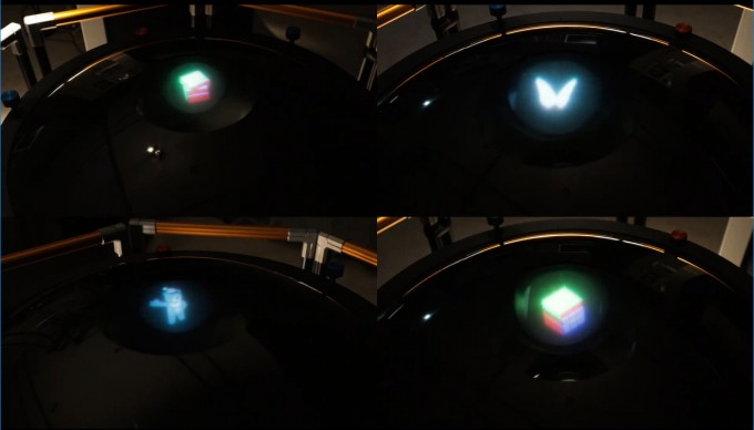 한국전자통신연구원(ETRI)이 개발한 360도 테이블탑 홀로그램 기술을 통해 재생한 홀로그램 영상이다. ETRI 제공