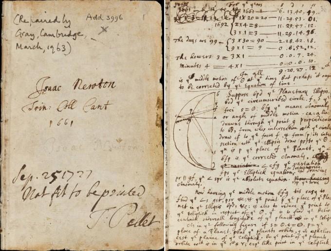 뉴턴이 케임브리지대 트리니티 칼리지 학부 시절에 쓴 공책이다. 왼쪽 아래에 토머스 펠릿이 ′출판하기에 적절치 않음′이라고 쓴 글귀가 보인다. 케임브리지대 도서관 제공