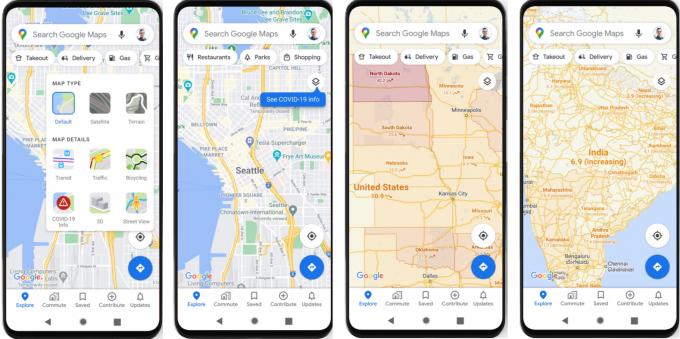 구글맵이 이번 주 스마트폰 애플리케이션(앱)을 업데이트하면서 코로나19 확진자 수를 확인하는 서비스를 제공한다. 구글 블로그 캡처