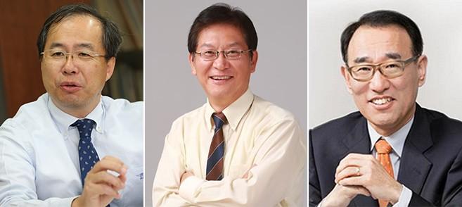 KAIST 교수협의회는 제17대 총장 예비 후보자로 김정호, 이혁모, 임용택 교수(왼쪽부터 가나다 순서)를 선정했다고 14일 밝혔다. KAIST 제공