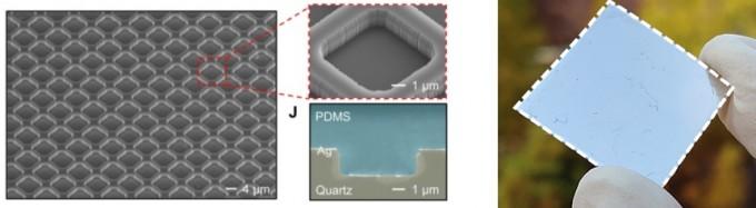 연구팀이 개발한 소재의 표면에는 바둑판 모양의 패턴이 새겨져 있다. 이 패턴 덕분에 PDMS는 대기에 흡수되지 않는 파장의 전자기파를 방출할 수 있다. 맨 오른쪽은 실험에 사용한 소재의 모습. 현재 송 교수팀은 어른 손바닥보다 넓은 8인치 웨이퍼 크기의 소재를 제작해 시험 중이며 향후 더 넓은 면적도 연구할 계획이다. 사이언스 어드밴시스 논문 캡쳐