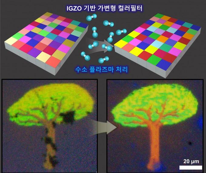 IGZO 기반 가변형 컬러필터 기술 모식도 및 마이크로 컬러픽셀 실험 결과. 포스텍 제공.