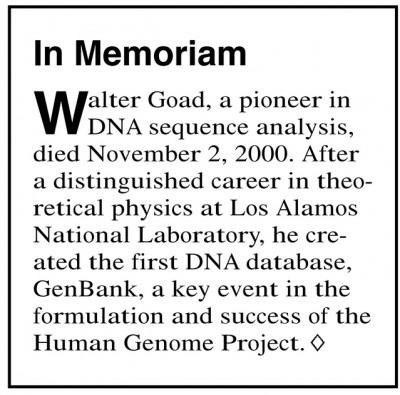 월터 고드의 부고가 실린 잡지의 짤막한 소개글. 미 에너지부 게놈연구소 제공