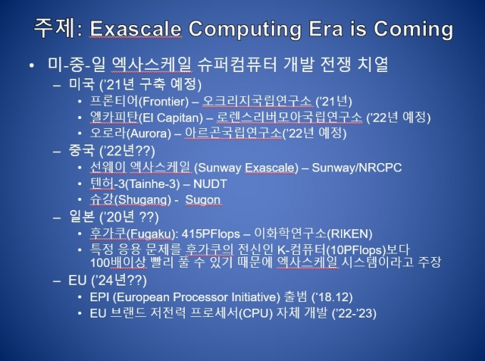 미국과 중국, 일본, 유럽의 엑사급 슈퍼컴퓨터 개발 동향을 정리했다. 빠르면 2021년부터 엑사급 컴퓨터가 등장할 것으로 보인다. KISTI 제공