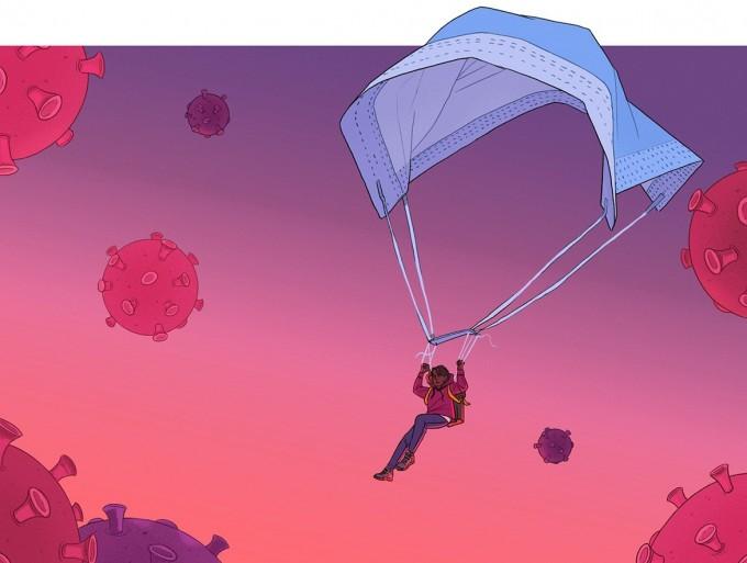 의료용 마스크로 만든 낙하산을 쓴 사람이 바이러스로 가득한 하늘로 내려오는 카툰. 과학자들은 마스크가 코로나 바이러스 감염을 막는 효과를 잇따라 입증했다. 네이처 제공.