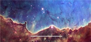 카리나 성운의 별 탄생 영역인 NGC 3324을 촬영한 허블우주망원경 영상이다. 태어난 무거운 별들이 강한 자외선 빛을 비추면서 분자구름을 깎아내고 있다. 이 과정에서 분자구름의 산소동위원소 분포를 변화시킨다. 흰 가로선 축척은 5광년 또는 태양-지구 거리의 30만 배(30만며) 거리다. NASA/ESA 제공