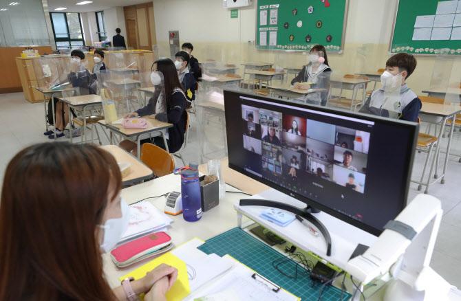 수도권 유·초·중·고 학생들의 등교가 재개된 21일 서울 노원구 화랑초등학교 6학년 교실에서 대면수업과 원격수업이 동시에 이뤄지고 있다. 연합뉴스 제공