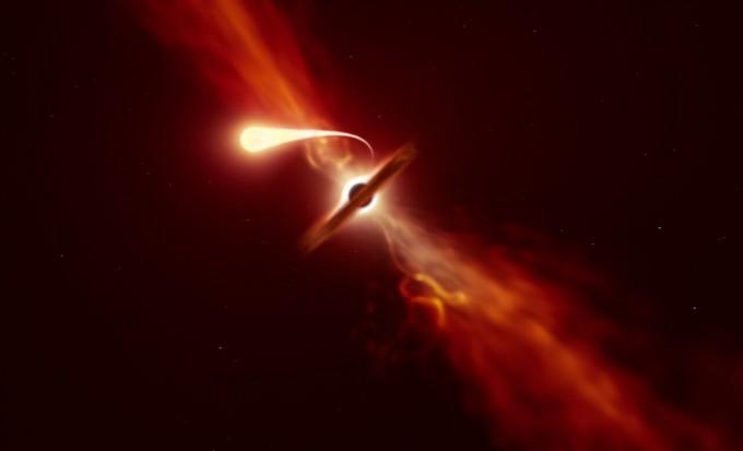 블랙홀이 별을 빨아들이는 과정에서 별이 파괴되고 일부가 방출되며 강한 섬광이 나오는 과정이 처음으로 온전히 관측을 통해 밝혀졌다. ESO 제공