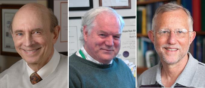 2020년 생리의학상 수상자가 발표됐다.(왼쪽부터)  하비 알터 미국 국립보건원(NIH) 부소장,  마이클 호튼 캐나다 앨버타대 교수,  찰스 라이스 미국 록펠러대 교수.  노벨위원회 제공