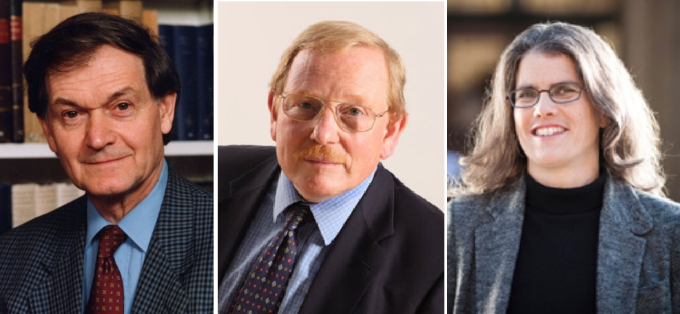 2020 노벨물리학상 수상자를 발표했다. (왼쪽부터) 로저 펜로즈 옥스퍼드대 교수(89), 라인하르트 겐첼 독일 막스플랑크 외계물리학 연구소장(68), 앤드리아 게즈 로스앤젤레스 캘리포니아대 교수(55). 노벨위원회 제공