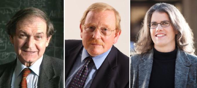 스웨덴 카롤린스카 의대 노벨위원회가 2020 노벨물리학상 수상자를 발표했다. (왼쪽부터) 로저 펜로즈 옥스퍼드대 교수(89), 라인하르트 겐첼 독일 막스플랑크 외계물리학 연구소장(68), 앤드리아 게즈 로스앤젤레스 캘리포니아대 교수(55). 노벨위원회 제공