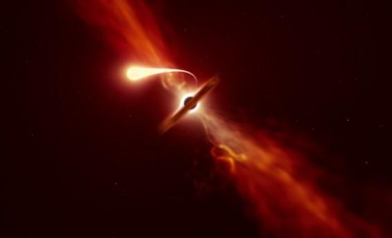 블랙홀 빨려든 별, 국수처럼 늘어났다가 초속 1만km로 흩어졌다