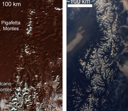 명왕성 산 정상 하얗게 덮은 얼음 지구 관설과 전혀 달라