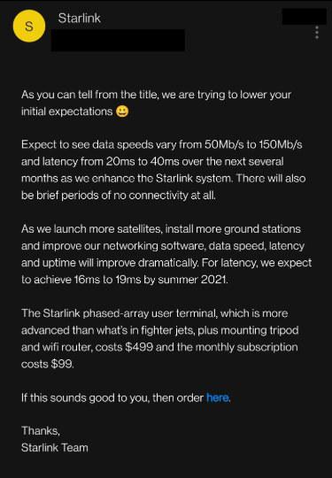 인터넷 커뮤니티 ′레딧′에는 스타링크 베타서비스 신청을 안내하는 스페이스X의 이메일 내용을 캡처한 캡처본이 올라왔다. 레딧 캡처