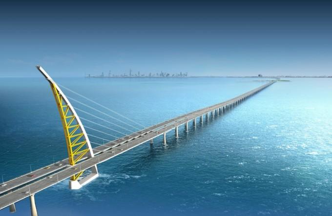 현대건설이 2019년 쿠웨이트에 건설한 다리인 ′자베르 코즈웨이(그림)′가 한국공학한림원이 선정한 2020 산업기술 16선에 선정됐다. 리비아 대수로 공사 이후 국내 건설사 최대 규모의 토목 공사로 최신 건설 기술을 적용하고 해양생물 대체서식지를 조성하는 등 환경에 신경을 썼다. 한국공학한림원 제공