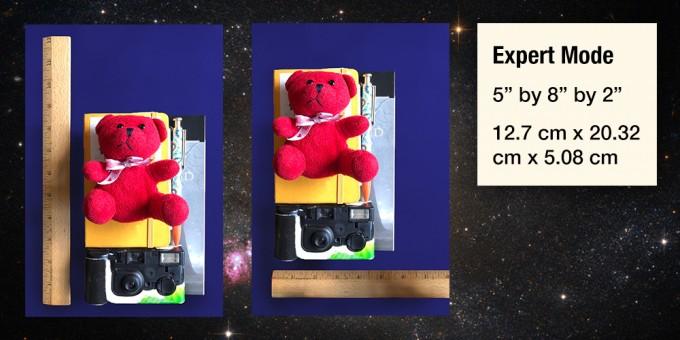'문 키트' 전문가 모드에서는 실제 우주비행사에게 허락된 용량인 가로, 세로, 높이가 각각 12.7, 20.32, 5.08cm를 넘지 않게 짐을 싸야한다. NASA 제공